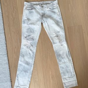 J Brand white washes ripped jeans